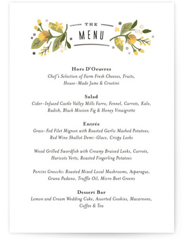 This is a portrait floral, vintage, yellow, silver Menus by Jennifer Wick called Floral Ampersand with Foil Pressed printing on Signature in Classic Flat Card format. Give guests a sneak peek of the meal to come with a beautiful foil ...