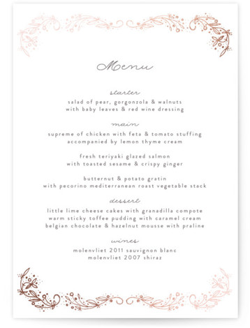 This is a portrait botanical, whimsical, rosegold Menus by Phrosne Ras called Love Floral Sketch with Foil Pressed printing on Signature in Classic Flat Card format. Give guests a sneak peek of the meal to come with a beautiful foil ...
