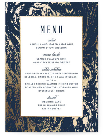 This is a portrait classical, elegant, formal, metallic, blue, white, silver Menus by Kelly Schmidt called Modern Marble with Foil Pressed printing on Signature in Classic Flat Card format. Give guests a sneak peek of the meal to come with ...