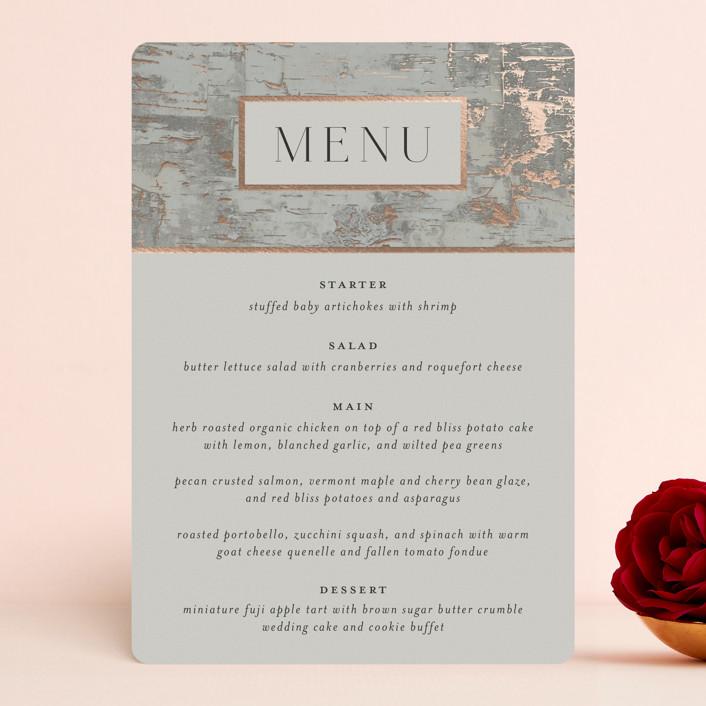 """""""Gilded birch bark"""" - Rustic Foil-pressed Menus in Clay by Heather Schertzer."""