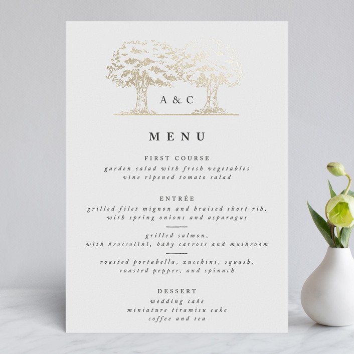 """""""A Poem For The Trees"""" - Rustic, Whimsical & Funny Foil-pressed Menus in Gold by Qing Ji."""