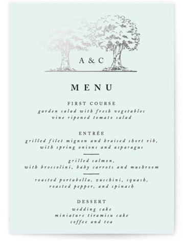 This is a portrait botanical, illustrative, rustic, whimsical, green, silver Menus by Qing Ji called A Poem For The Trees with Foil Pressed printing on Signature in Classic Flat Card format. Give guests a sneak peek of the meal to ...