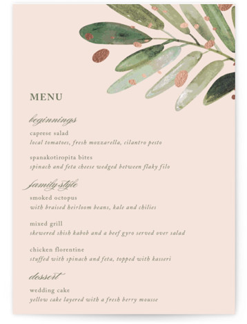 This is a portrait botanical, rustic, pink Menus by Haley Warner called Al Fresco with Foil Pressed printing on Signature in Classic Flat Card format. Give guests a sneak peek of the meal to come with a beautiful foil pressed ...