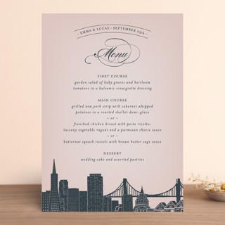 """Big City - San Francisco"" - Destination, Modern Foil-pressed Menus in Blush by Hooray Creative."