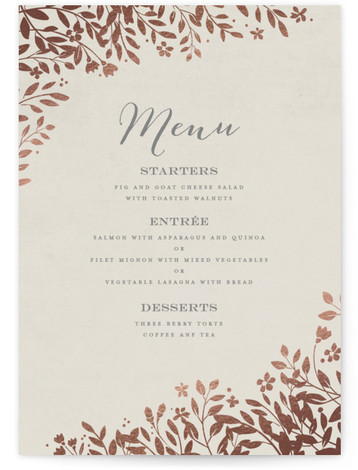 This is a portrait classical, floral, grey, rosegold Menus by Jennifer Wick called Sun Prints with Foil Pressed printing on Signature in Classic Flat Card format. A romantic save the date featuring a sun print of wildflowers and understated typography. ...