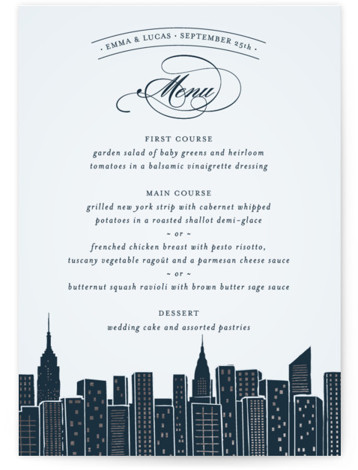 Big City - New York City Foil-Pressed Menus