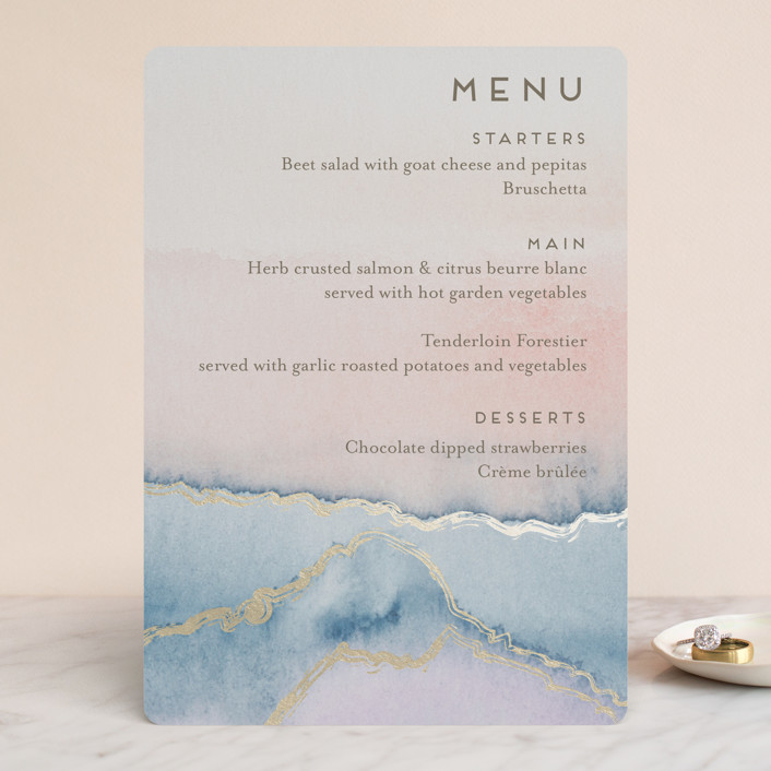 """""""Simple Agate"""" - Modern Foil-pressed Menus in Cherry Blossom by Petra Kern."""