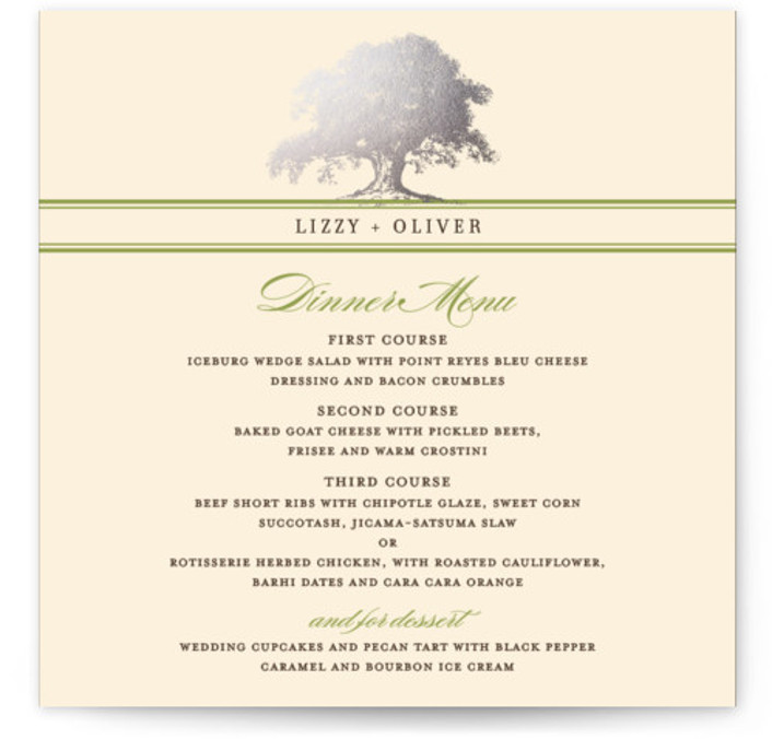 This is a square orientation classical, elegant, floral, rustic, vintage, green, silver Menus by annie clark called Oak Tree with Foil Pressed printing on Signature in Classic Flat Card format. Give guests a sneak peek of the meal to come ...