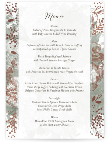 This is a portrait floral, hand drawn, green, grey Menus by Phrosne Ras called Floral Feast with Foil Pressed printing on Signature in Classic Flat Card format. Give guests a sneak peek of the meal to come with a beautiful ...