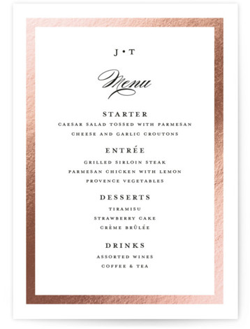 This is a rosegold Menus by Stacey Meacham called Lasting love with Foil Pressed printing on Signature in Classic Flat Card format. A timeless wedding invitation with couples monogram, simple gold frame and restrained script details.