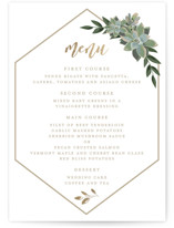 This is a white menu card by Susan Moyal called Succulent Surround with foil-pressed printing on signature in standard.