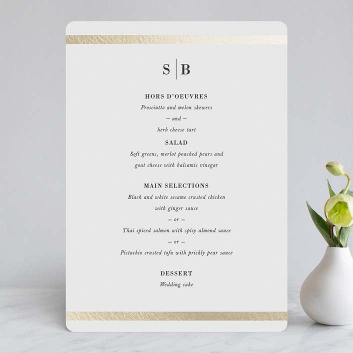 """Classic Monogram"" - Foil-pressed Menus in Ivory by Stacey Meacham."