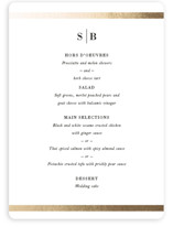 This is a black and white menu card by Stacey Meacham called Classic Monogram with foil-pressed printing on signature in standard.