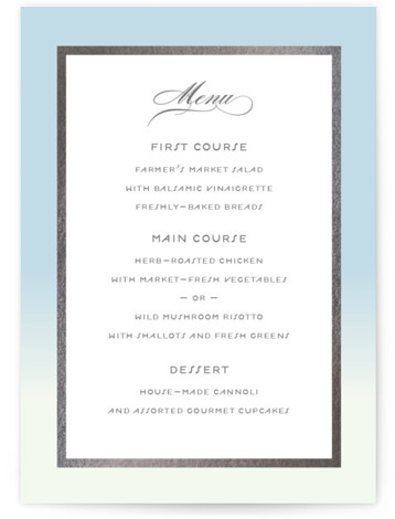 This is a portrait blue, silver Menus by Snow and Ivy called Gilded Garden with Foil Pressed printing on Signature in Classic Flat Card format. Give guests a sneak peek of the meal to come with a beautiful foil pressed ...