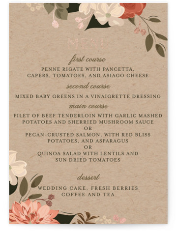 This is a portrait red, green, rosegold Menus by Susan Moyal called Petal Surround with Foil Pressed printing on Signature in Classic Flat Card format. Give guests a sneak peek of the meal to come with a beautiful foil pressed ...