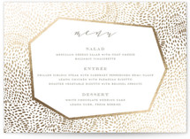 This is a green menu card by Oscar & Emma called Lovely Beginning with foil-pressed printing on signature in standard.