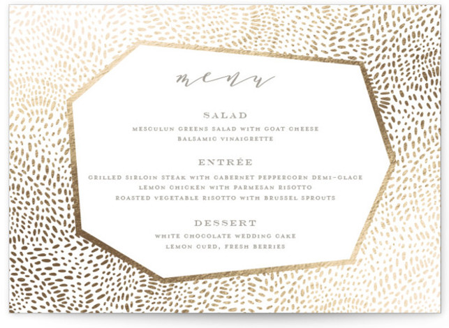 This is a landscape green, beige, gold Menus by Oscar & Emma called Lovely Beginning with Foil Pressed printing on Signature in Classic Flat Card format. Give guests a sneak peek of the meal to come with a beautiful foil ...
