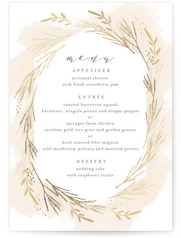 This is a portrait yellow, beige, gold Menus by Kristie Kern called Wheat Field with Foil Pressed printing on Signature in Classic Flat Card format. Give guests a sneak peek of the meal to come with a beautiful foil pressed ...