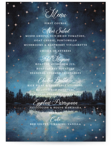 This is a blue, rosegold Menus by Elly called Stellar with Foil Pressed printing on Signature in Classic Flat Card format. A landscape painting in watercolour with gold foil stars that shine around your wedding announcement