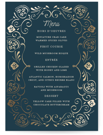 This is a portrait blue, gold Menus by Ana de Sousa called Sweet leaves with Foil Pressed printing on Signature in Classic Flat Card format. Give guests a sneak peek of the meal to come with a beautiful foil pressed ...