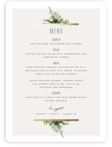 This is a green menu card by Leah Bisch called Diamante with foil-pressed printing on signature in standard.