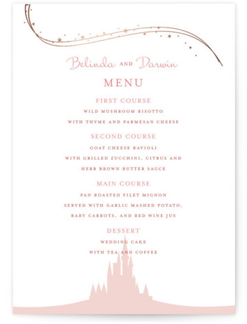 This is a portrait whimsical, pink, rosegold Menus by Jody Wody called Enchanted Stars with Foil Pressed printing on Signature in Classic Flat Card format. Give guests a sneak peek of the meal to come with a beautiful foil pressed ...