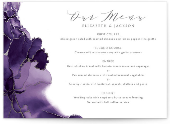 This is a purple, silver Menus by Erin Deegan called Modern Tide Pools with Foil Pressed printing on Signature in Classic Flat Card format. Give guests a sneak peek of the meal to come with a beautiful foil pressed menu, ...