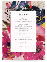 This is a beige menu card by Lori Wemple called Blooming Beauty with foil-pressed printing on signature in standard.