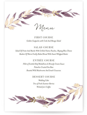 This is a gold, purple Menus by Robin Ott called Shade Garden with Foil Pressed printing on Signature in Classic Flat Card format. Give guests a sneak peek of the meal to come with a beautiful foil pressed menu, hand ...