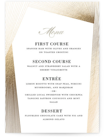 This is a beige, gold Menus by Kaydi Bishop called String Art with Foil Pressed printing on Signature in Classic Flat Card format. Give guests a sneak peek of the meal to come with a beautiful foil pressed menu, hand ...
