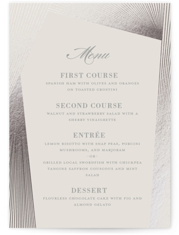 This is a beige, silver Menus by Kaydi Bishop called String Art with Foil Pressed printing on Signature in Classic Flat Card format. Give guests a sneak peek of the meal to come with a beautiful foil pressed menu, hand ...