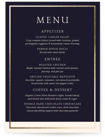 This is a beige, blue, gold Menus by Little Words Design called Mod Block with Foil Pressed printing on Signature in Classic Flat Card format. Give guests a sneak peek of the meal to come with a beautiful foil pressed ...
