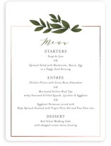 This is a green menu card by Itsy Belle Studio called Laurels Frame with foil-pressed printing on signature in standard.