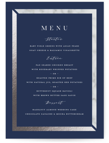 This is a blue, silver Menus by Carolyn MacLaren called Marble Marriage with Foil Pressed printing on Signature in Classic Flat Card format. Give guests a sneak peek of the meal to come with a beautiful foil pressed menu, hand ...