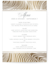 This is a gold menu card by Erin Deegan called Lined with foil-pressed printing on signature in standard.