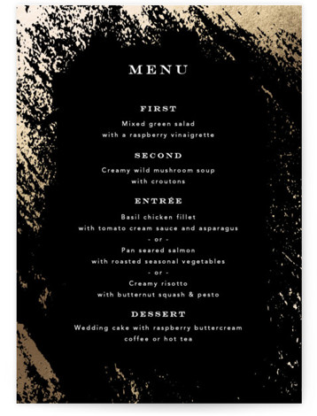 This is a black, gold Menus by Kimberly FitzSimons called Edgy Charm with Foil Pressed printing on Signature in Classic Flat Card format. Give guests a sneak peek of the meal to come with a beautiful foil pressed menu, hand ...