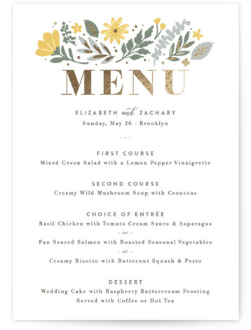This is a gold, green, yellow Menus by Hooray Creative called Folk Floral with Foil Pressed printing on Signature in Classic Flat Card format. Give guests a sneak peek of the meal to come with a beautiful foil pressed menu, ...