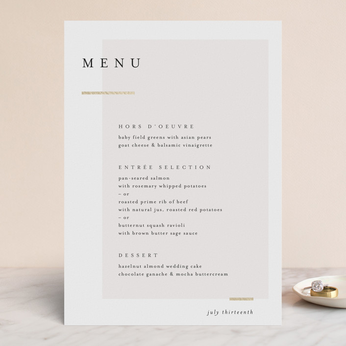 """""""Clean and Modern"""" - Foil-pressed Menus in Champagne by Kelly Schmidt."""