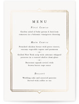 This is a white menu card by carly reed walker called Vienna with foil-pressed printing on signature in standard.