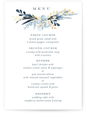 This is a portrait botanical, painterly, rustic, blue Menus by Petra Kern called gilded wreath with Foil Pressed printing on Signature in Classic Flat Card format. Gilded gentle greenery design hugs couples name in nature inspired wedding invitation.