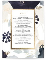 This is a purple menu card by amanda lawrence called midnight fresco with foil-pressed printing on signature in standard.