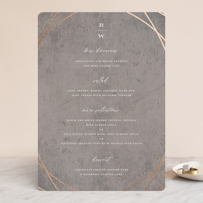 """Mirror, Mirror"" - Foil-pressed Menus in Taupe by fatfatin."