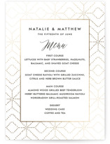 This is a white menu card by Paper Dahlia called Intricate Geo Frame with foil-pressed printing on signature in standard.