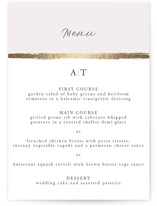 This is a pink menu card by Tatiana Nogueiras called Brushstroke with foil-pressed printing on signature in standard.