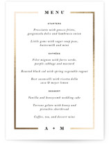 This is a white menu card by Jennifer Lew called Classically with foil-pressed printing on signature in standard.