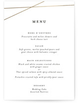 This is a white menu card by Emily Betts called Minimal Shine with foil-pressed printing on signature in standard.