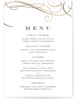 This is a black and white menu card by Amy Payne called Sofisticato with foil-pressed printing on signature in standard.