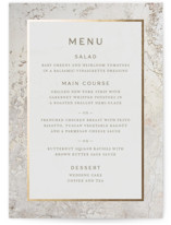 This is a beige menu card by Basil Design Studio called Juniper with foil-pressed printing on signature in standard.