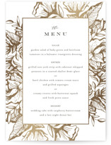 This is a white menu card by Jennifer Postorino called Beautiful Bouquet with foil-pressed printing on signature in standard.