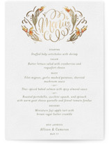 This is a green menu card by Laura Bolter Design called Garden Swirls with foil-pressed printing on signature in standard.